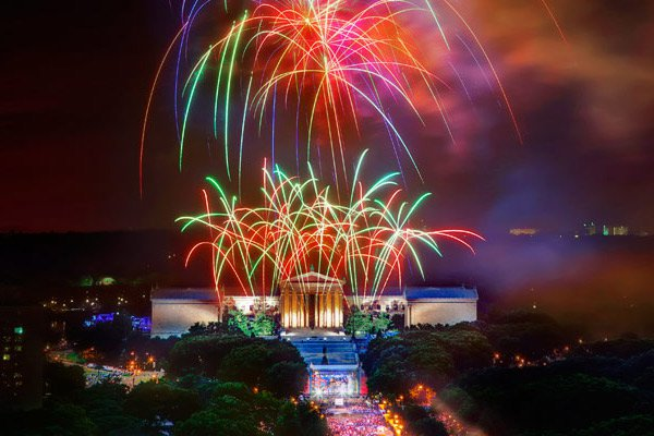 Fireworks over the Philadelphia art museum.